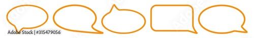 Fotografía  Speech Bubble Balloon Icon orange | Blank Shape Bubbles | Communication Symbol |