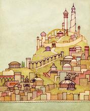 Seaside City Retro Illustratio...