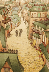 Fototapeta Vintage Cobblestone City Ink Illustration- whimsical ink drawing of a romantic historical city, warm sepia tones