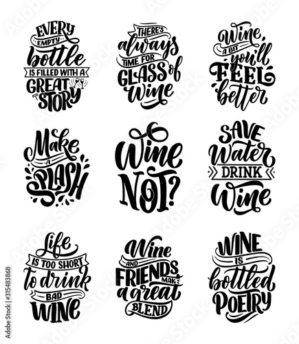 Set of wine lettering compositions in modern style Canvas Print