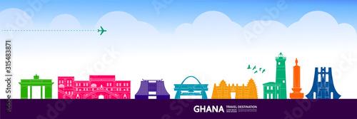 Ghana travel destination grand vector illustration. Canvas Print