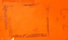 Old Blank Orange Ripped Torn Posters Grunge Texture Background Creased Crumpled Paper Backdrop Placard Surface / Empty Space For Text