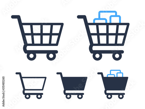 Empty and filled shopping cart symbols shop and sale icons Fototapet