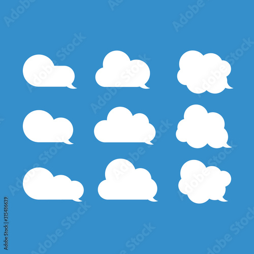 White message clouds collection Wallpaper Mural