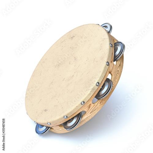 Wooden tambourine 3D Fototapeta