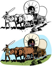 A Family Of Pioneer Settlers Cross America In Their Covered Wagon.