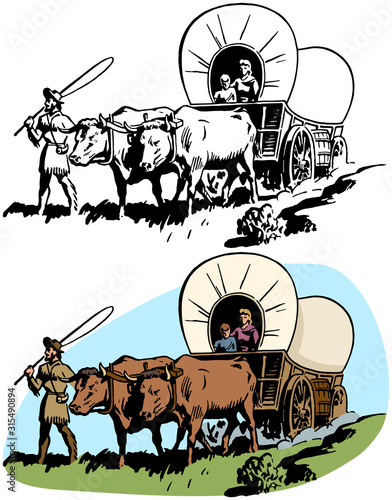 Slika na platnu A family of pioneer settlers cross America in their covered wagon
