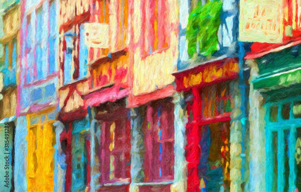 Fototapeta Impressionnisme. Rouen, maisons à pans de bois rue de Martainville