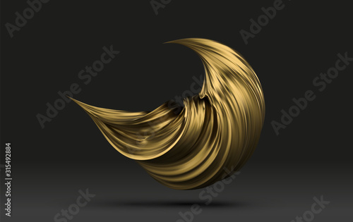 Fotografie, Tablou Abstract golden paint 3d stroke, paint spash close-up
