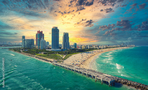Sunset in Miami South Beach - 315494831