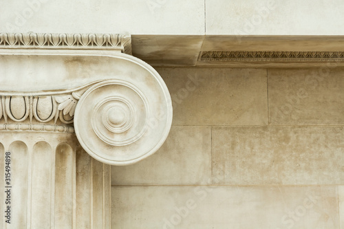 Decorative detail of an ancient Ionic column Fototapet
