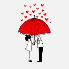 Cute Doodle Couple Kissing Under Umbrella