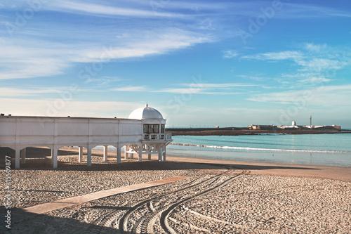 """Beach Resort in La Caleta Beach in Cádiz. """"Balneario"""" of Playa de La Caleta Beach in Cadiz, Andalucia, Spain."""