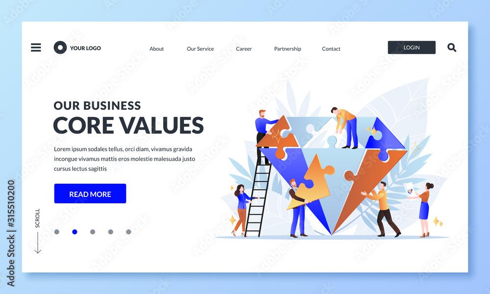 Fototapeta Business core value concept. Vector flat cartoon illustration. People team assemble diamond shape puzzle