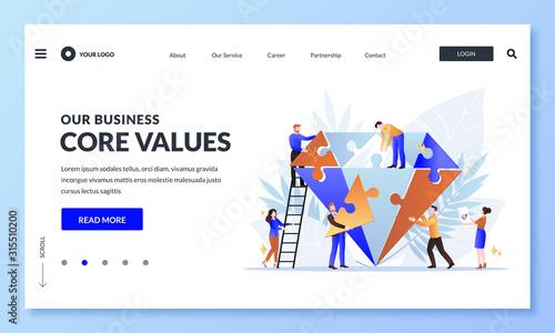 Fototapeta Business core value concept. Vector flat cartoon illustration. People team assemble diamond shape puzzle obraz