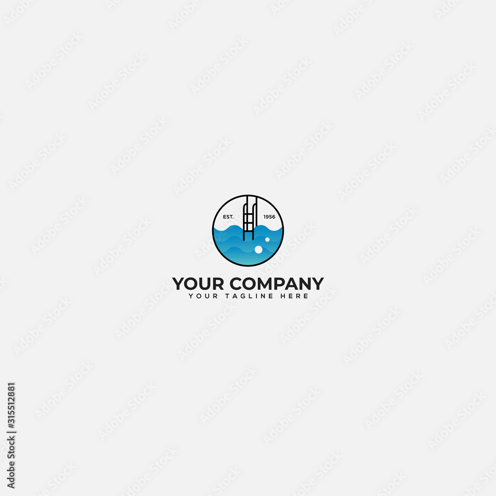 Fototapeta swimming lab logo design, swimming pool solution logo