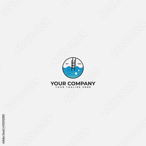 Obraz swimming lab logo design, swimming pool solution logo - fototapety do salonu