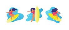 Flat Woman Surfing Waves Carto...