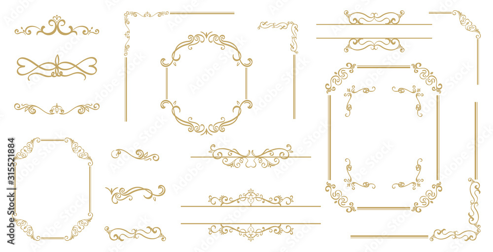Fototapeta Luxury Gold vintage invitation vector set. Ornamental curls, dividers, Border design  and golden components design  for wedding invite, menus, certificates, boutiques, spa and logo design.