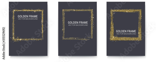 Obraz Set of posters with abstract frame in grange style. Brush stroke the perimeter of the frame with golden dust and different pattern. Vector illustration, eps10. - fototapety do salonu