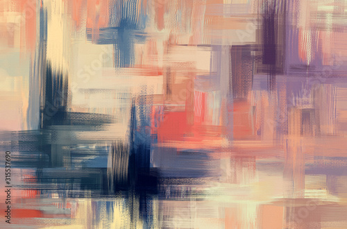 Fototapeta Abstract art background illustration, hand drawn oil painting. Surreal artwork in contemporary style. Modern wall art on canvas obraz