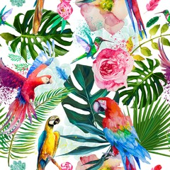 Panel Szklany Podświetlane Egzotyczne seamless exotic floral pattern with parrots