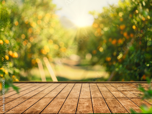 Fotografía Empty wood table with free space over orange trees, orange field background