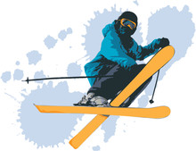Vector Free Skier Jumping With...