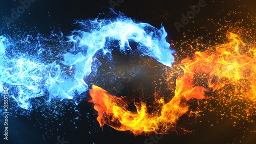 Obraz Fire and Ice Concept Design with spark. 3d illustration. - fototapety do salonu
