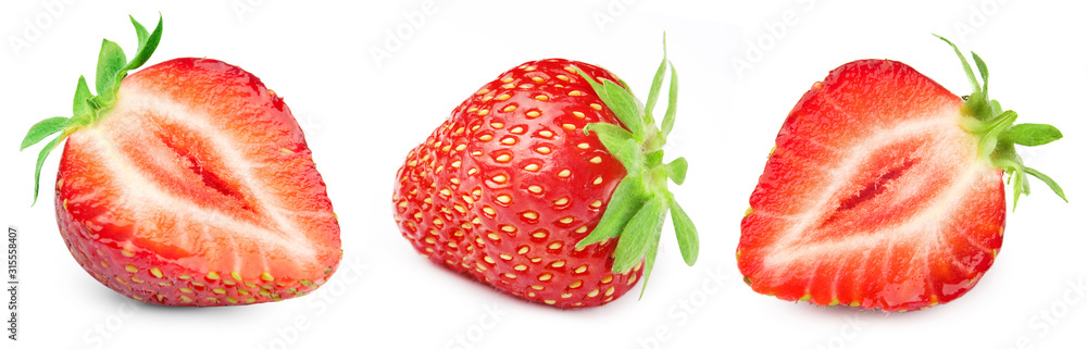 Fototapeta Three ripe strawberries. Strawberry collection isolated on white. Strawberry berry fruits Clipping Path.