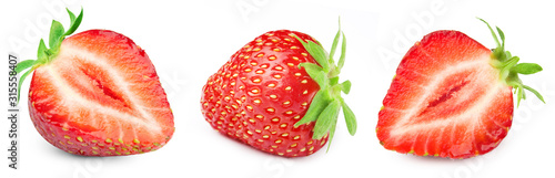 Fototapeta Three ripe strawberries. Strawberry collection isolated on white. Strawberry berry fruits Clipping Path. obraz