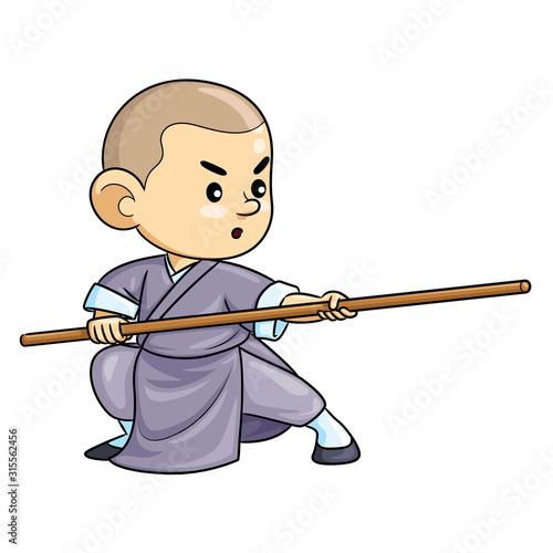 Obraz na plátně Kung Fu Kid Cartoon