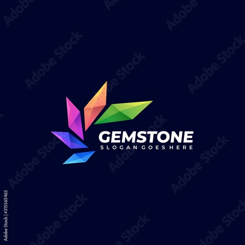 Cuadros en Lienzo Vector Logo Illustration Abstract Gem Stone Stacked Shape Colorful Style