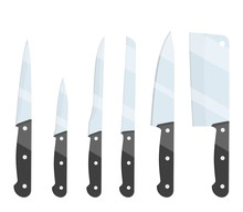 Different Types Of Kitchen Knives Set Icon Isolated On White Background. For Web, Poster, Menu, Cafe And Restaurant. Vector Illustration In Flat Style.