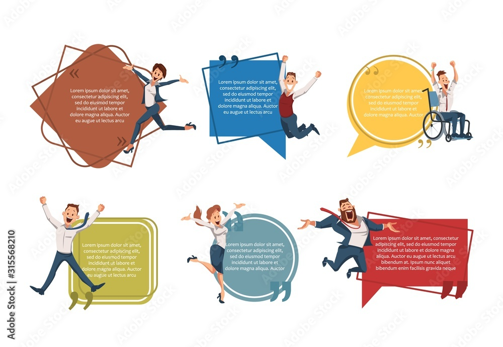 Fototapeta Successful Entrepreneurship, Business Career Opportunities Trendy Flat Vector Banner, Poster Template. Happy Entrepreneurs, Company Employees, Excited Office Workers Jumping with Joy Illustration