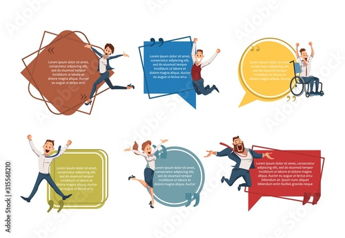Obraz Successful Entrepreneurship, Business Career Opportunities Trendy Flat Vector Banner, Poster Template. Happy Entrepreneurs, Company Employees, Excited Office Workers Jumping with Joy Illustration - fototapety do salonu