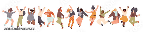 Canvastavla  Vector flat collection of Happy Multiracial Woman illustration, dancing and jumping with joy, cheer, happiness, isolated on white background