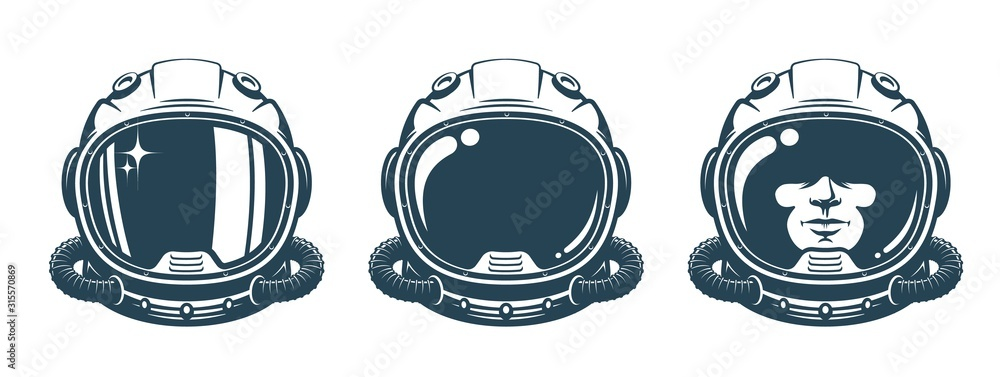 Fototapeta Astronaut helmet - vintage set. Spaceman face in space suit - retro design. Vector illustration.