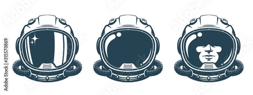 Astronaut helmet - vintage set. Spaceman face in space suit - retro design. Vector illustration.