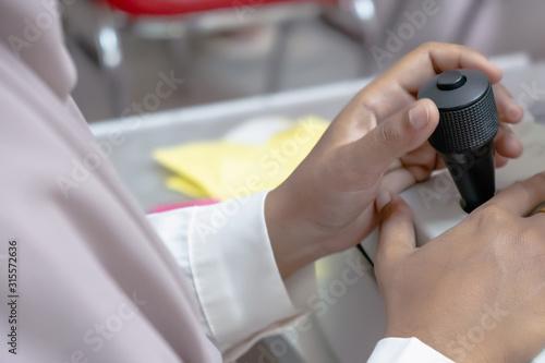 Photo elderly exam for eye problems