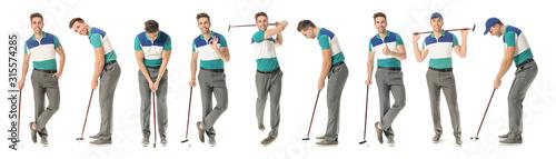 Obraz na plátně Collage with handsome male golfer on white background