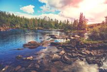 Mountain Rocky River. Beautifu...