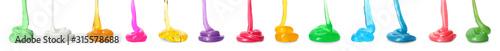 Obraz Set of different colorful slimes on white background. Antistress toy - fototapety do salonu