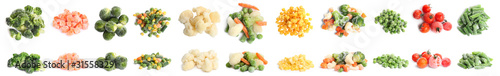 Fotografía Set of different frozen vegetables on white background
