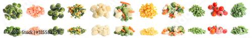 Obraz Set of different frozen vegetables on white background. Banner design - fototapety do salonu