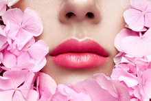 Close Up View Of Beautiful Woman Lips With Pink Lipstick