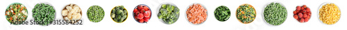 Set of different frozen vegetables on white background, top view. Banner design