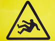 canvas print picture - The sign is a very slippery floor. Slip on the floor. yellow