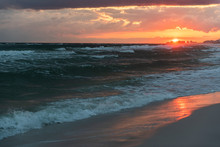 Red Orange Epic Dramatic Sunset In Santa Rosa Beach, Florida With Coastline Coast In Panhandle With Ocean Gulf Mexico Waves Dark Nobody