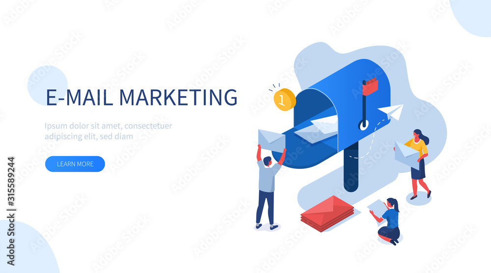 Fototapeta People Characters Standing Near Postbox and Sending Mails. Woman and Man Holding Envelopes Reading Letters. E-mail Marketing Concept. Flat Isometric Vector Illustration.